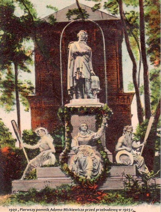 1900 , Pierwszy pomnik Adama Mickiewicza przed przebudową w 1903 r. 1 Kopia